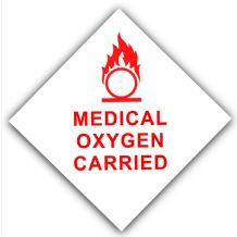 1 x Medical Oxygen Carried-Car,Van,Bus,Cab,Taxi Minicab,Ambulance Self Adhesive Vinyl Sticker-Health and Safety Sign